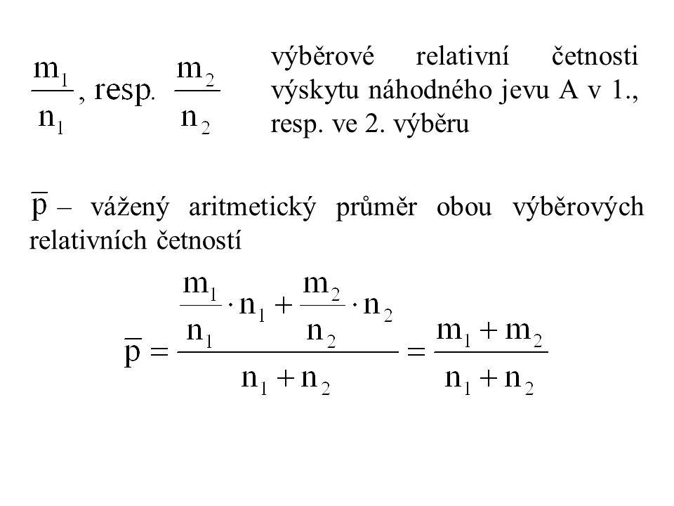 výběrové relativní četnosti výskytu náhodného jevu A v 1., resp. ve 2. výběru – vážený aritmetický průměr obou výběrových relativních četností