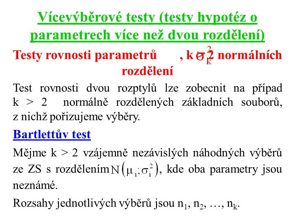 Vícevýběrové testy (testy hypotéz o parametrech více než dvou rozdělení) Testy rovnosti parametrů, k > 2 normálních rozdělení Test rovnosti dvou rozpt