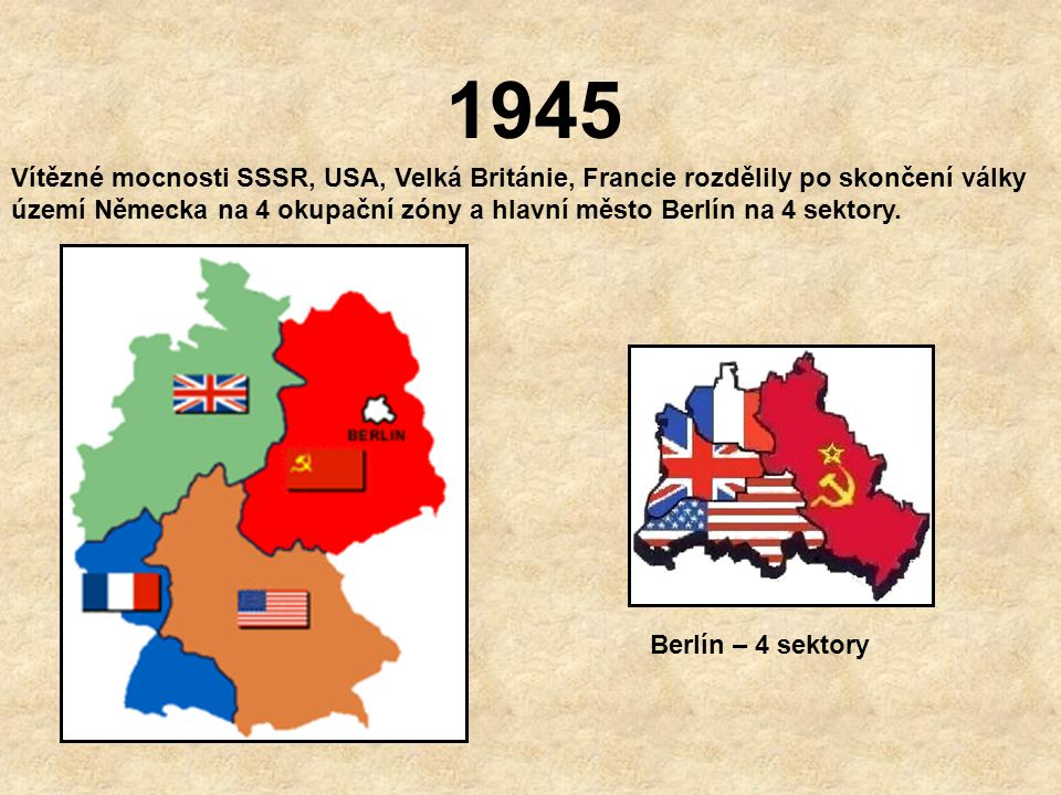 1945 17.7. – 2.8. Postupimská konference Na zámečku Cecilienhof nedaleko Berlína se sešli : H. Truman – prezident USA; J.V. Stalin – sovětský vůdce, W
