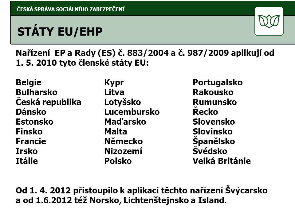Nařízení EP a Rady (ES) č. 883/2004 a č. 987/2009 aplikují od 1. 5. 2010 tyto členské státy EU: BelgieKyprPortugalsko BulharskoLitvaRakousko Česká rep