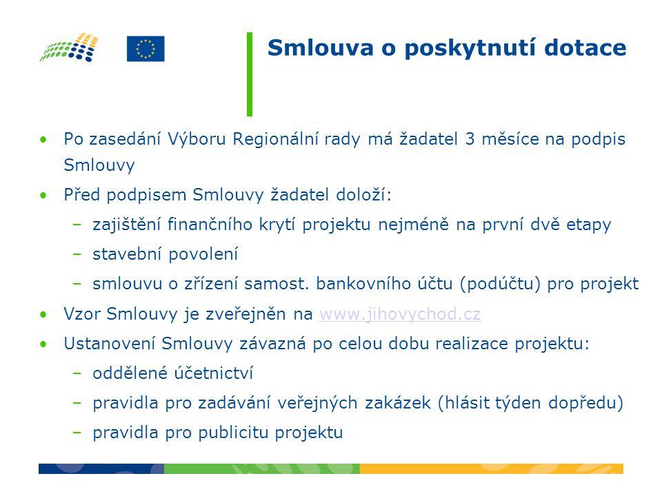 Smlouva o poskytnutí dotace •Po zasedání Výboru Regionální rady má žadatel 3 měsíce na podpis Smlouvy •Před podpisem Smlouvy žadatel doloží: –zajištěn