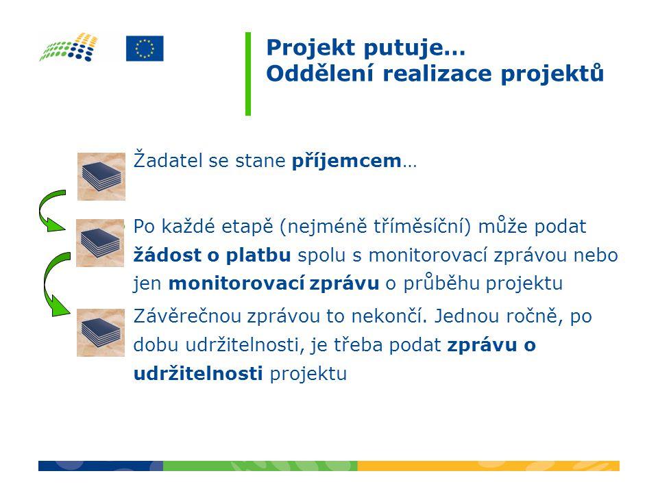 Projekt putuje… Oddělení realizace projektů •Žadatel se stane příjemcem… •Po každé etapě (nejméně tříměsíční) může podat žádost o platbu spolu s monitorovací zprávou nebo jen monitorovací zprávu o průběhu projektu •Závěrečnou zprávou to nekončí.
