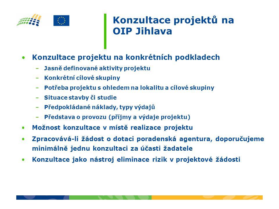 Konzultace projektů na OIP Jihlava •Konzultace projektu na konkrétních podkladech –Jasně definované aktivity projektu –Konkrétní cílové skupiny –Potře