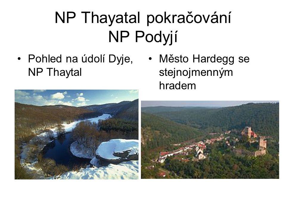 NP Thayatal pokračování NP Podyjí •Pohled na údolí Dyje, NP Thaytal •Město Hardegg se stejnojmenným hradem