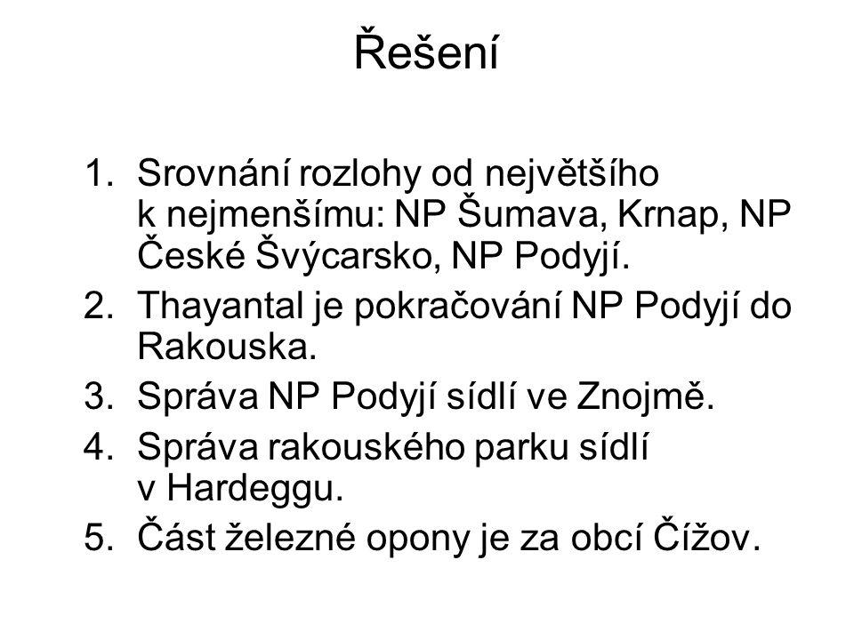 Řešení 1.Srovnání rozlohy od největšího k nejmenšímu: NP Šumava, Krnap, NP České Švýcarsko, NP Podyjí. 2.Thayantal je pokračování NP Podyjí do Rakousk