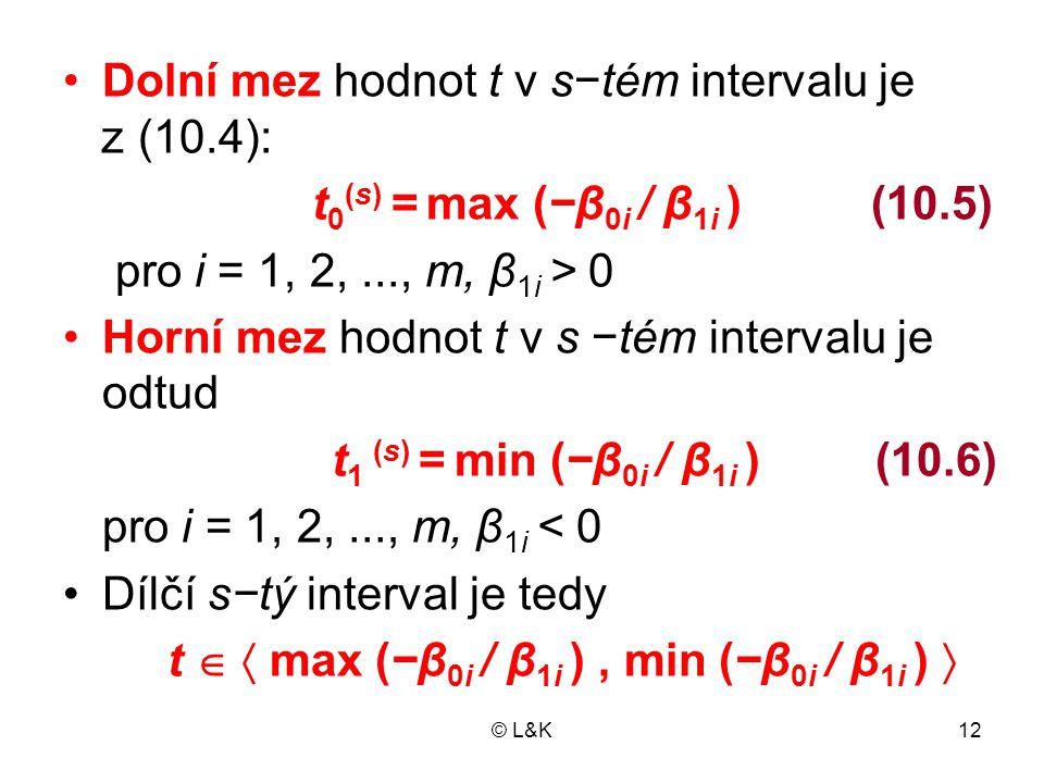 © L&K12 •Dolní mez hodnot t v s−tém intervalu je z (10.4): t 0 (s) = max (−β 0i / β 1i ) (10.5) pro i = 1, 2,..., m, β 1i > 0 •Horní mez hodnot t v s