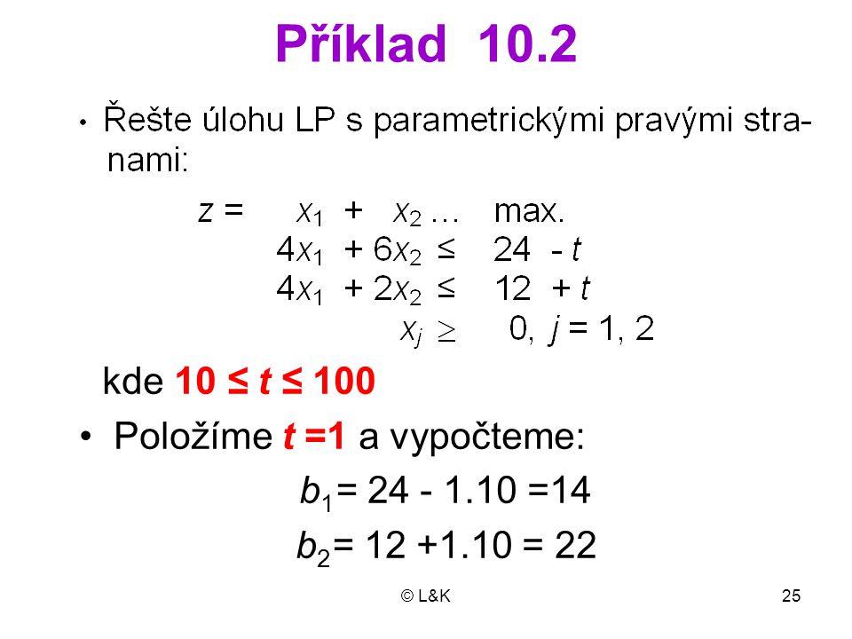© L&K25 Příklad 10.2 kde 10 ≤ t ≤ 100 • Položíme t =1 a vypočteme: b 1 = 24 - 1.10 =14 b 2 = 12 +1.10 = 22