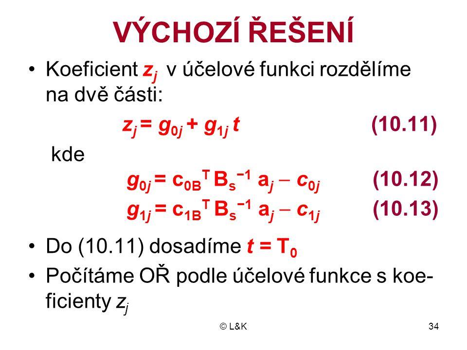 © L&K34 VÝCHOZÍ ŘEŠENÍ •Koeficient z j v účelové funkci rozdělíme na dvě části: z j = g 0j + g 1j t (10.11) kde g 0j = c 0B T B s −1 a j  c 0j (10.12