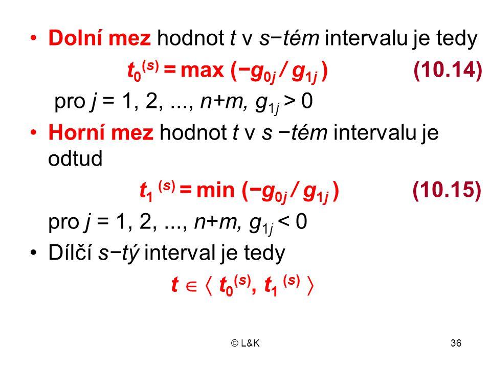 © L&K36 •Dolní mez hodnot t v s−tém intervalu je tedy t 0 (s) = max (−g 0j / g 1j ) (10.14) pro j = 1, 2,..., n+m, g 1j > 0 •Horní mez hodnot t v s −t