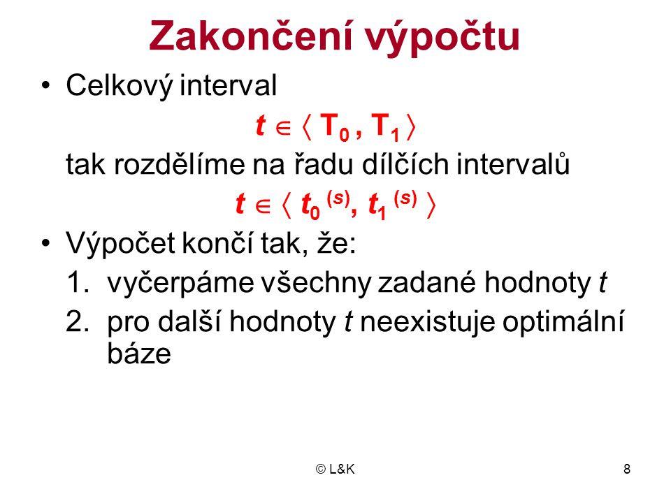 © L&K29 Nepřípustné výchozí řešení •Po dosazení dolní meze T 0 do (10.2) může být některá pravá strana záporná •Výchozí řešení je primárně nepřípustné •První optimální bázi není možno počítat simplexovou metodou •Pokud není úloha duálně přípustná, musí- me omezení se zápornou pravou stranou násobit (-1)
