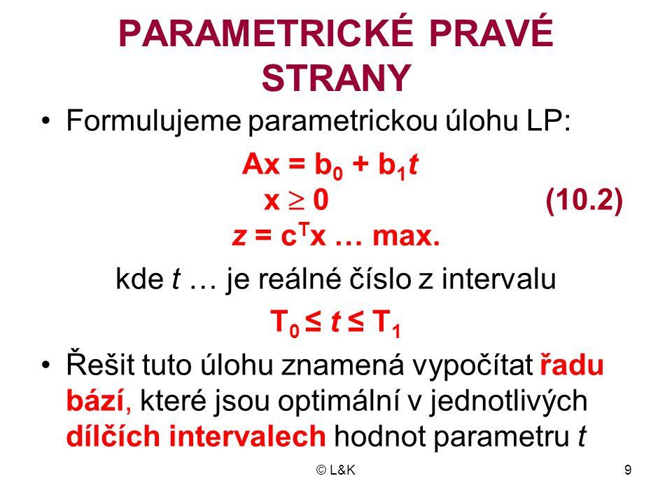 © L&K9 PARAMETRICKÉ PRAVÉ STRANY •Formulujeme parametrickou úlohu LP: Ax = b 0 + b 1 t x  0 (10.2) z = c T x … max. kde t … je reálné číslo z interva