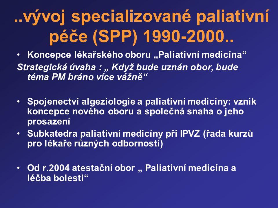 """..vývoj specializované paliativní péče (SPP) 1990-2000.. •Koncepce lékařského oboru """"Paliativní medicína"""" Strategická úvaha : """" Když bude uznán obor,"""