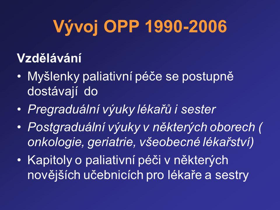 Vývoj OPP 1990-2006 Vzdělávání •Myšlenky paliativní péče se postupně dostávají do •Pregraduální výuky lékařů i sester •Postgraduální výuky v některých