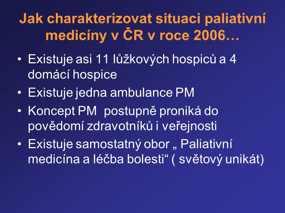 Jak charakterizovat situaci paliativní medicíny v ČR v roce 2006… •Existuje asi 11 lůžkových hospiců a 4 domácí hospice •Existuje jedna ambulance PM •