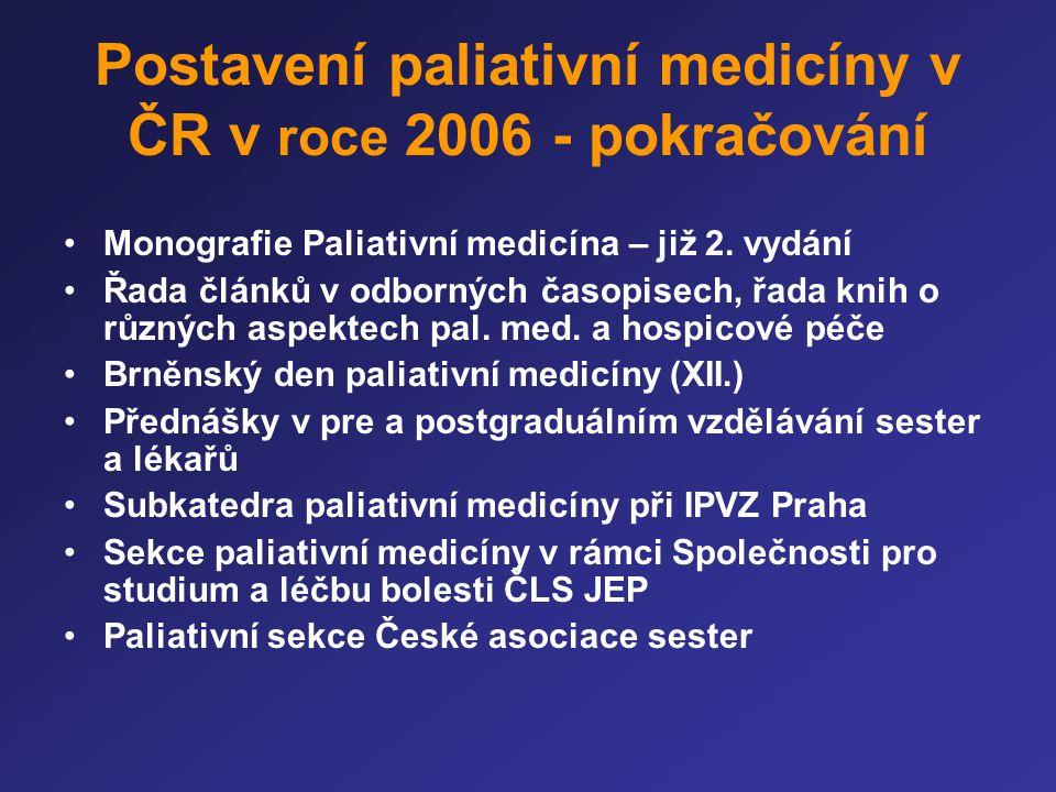 Postavení paliativní medicíny v ČR v roce 2006 - pokračování •Monografie Paliativní medicína – již 2. vydání •Řada článků v odborných časopisech, řada