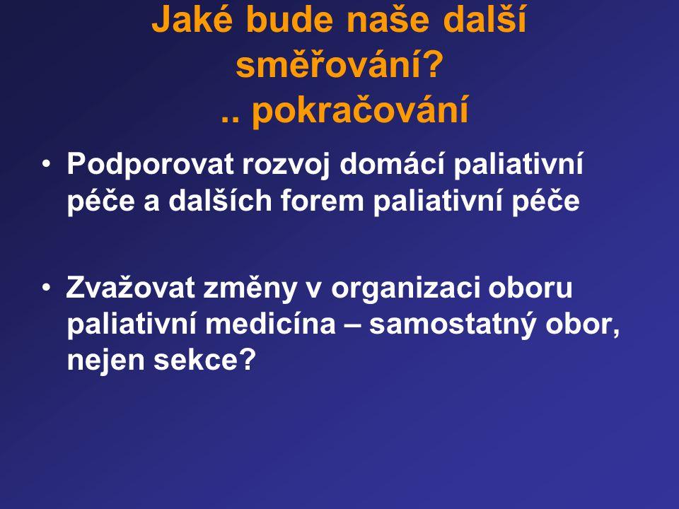 Jaké bude naše další směřování?.. pokračování •Podporovat rozvoj domácí paliativní péče a dalších forem paliativní péče •Zvažovat změny v organizaci o