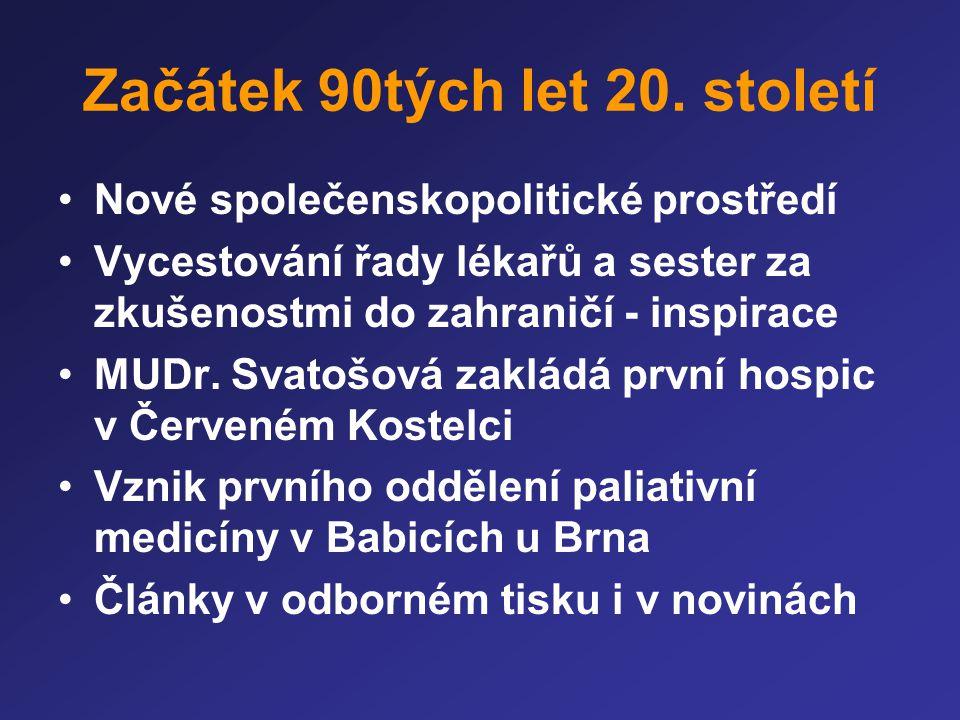 Vývoj OPP 1990-2006 Péče o nevyléčitelně nemocné a umírající •Lepší znalosti lékařů o léčbě symptomů •Sítě ambulancí léčby bolesti •Postupná kultivace v oblasti rozhodování o paliativní protinádorové léčbě •Obecná dobrá dostupnost opioidů a dalších symptomatických léků •Větší dostupnost psychologické a pastorační péče ve zdravotnických zařízeních •Časnější odesílání do hospice