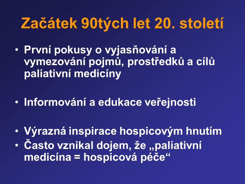 Začátek 90tých let 20. století •První pokusy o vyjasňování a vymezování pojmů, prostředků a cílů paliativní medicíny •Informování a edukace veřejnosti
