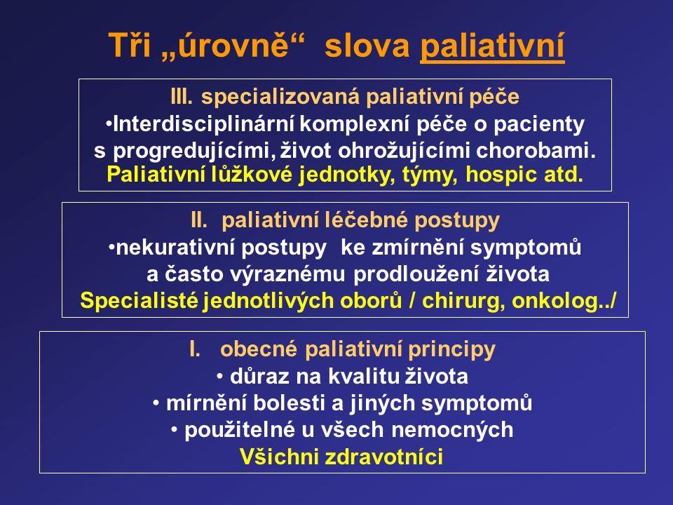 """Tři """"úrovně"""" slova paliativní I. obecné paliativní principy • důraz na kvalitu života • mírnění bolesti a jiných symptomů • použitelné u všech nemocný"""