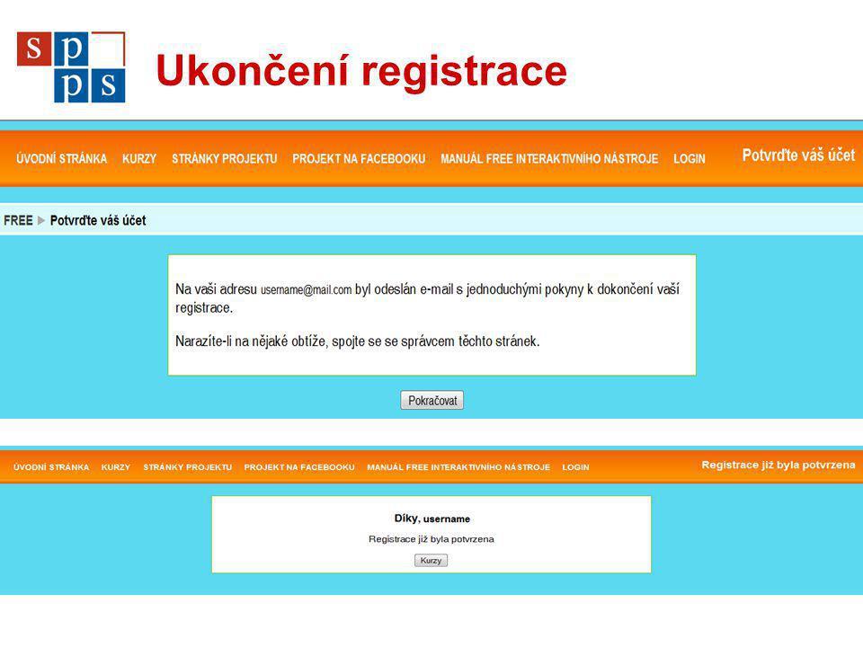 Ukončení registrace