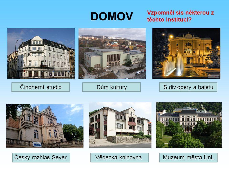 DOMOV Činoherní studioDům kultury S.div.opery a baletu Český rozhlas Sever Vědecká knihovna Muzeum města ÚnL Vzpomněl sis některou z těchto institucí?