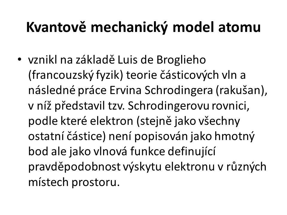 Kvantově mechanický model atomu • vznikl na základě Luis de Broglieho (francouzský fyzik) teorie částicových vln a následné práce Ervina Schrodingera