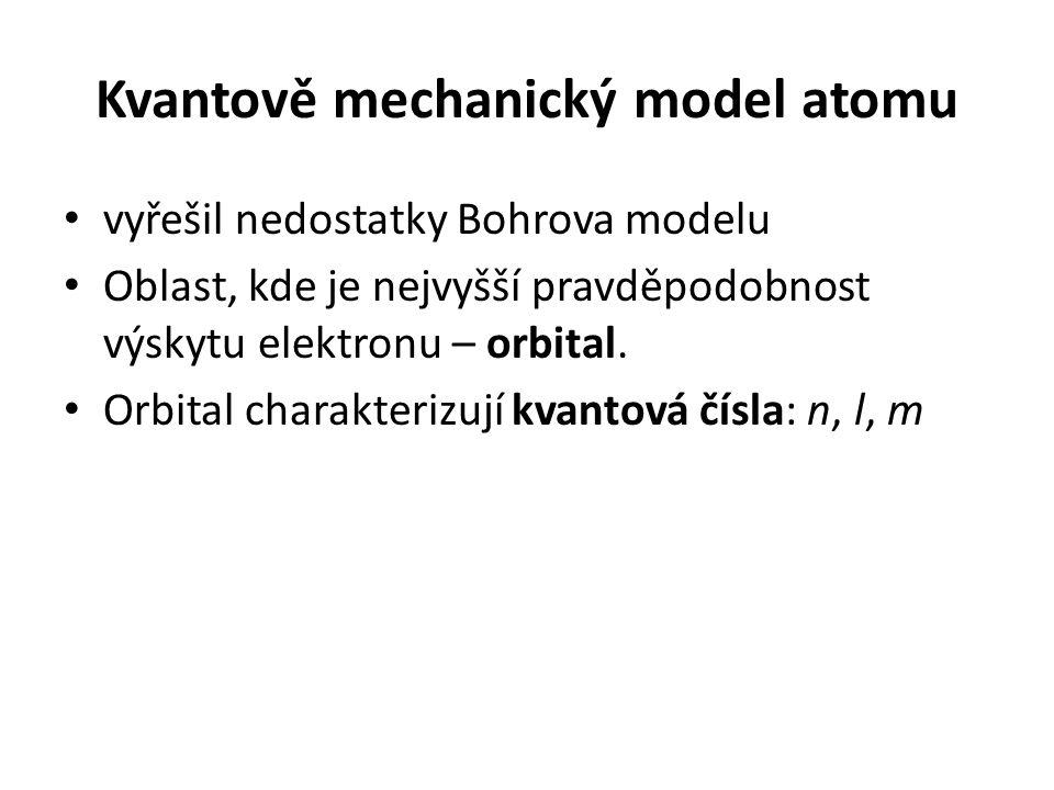 Kvantově mechanický model atomu • vyřešil nedostatky Bohrova modelu • Oblast, kde je nejvyšší pravděpodobnost výskytu elektronu – orbital. • Orbital c