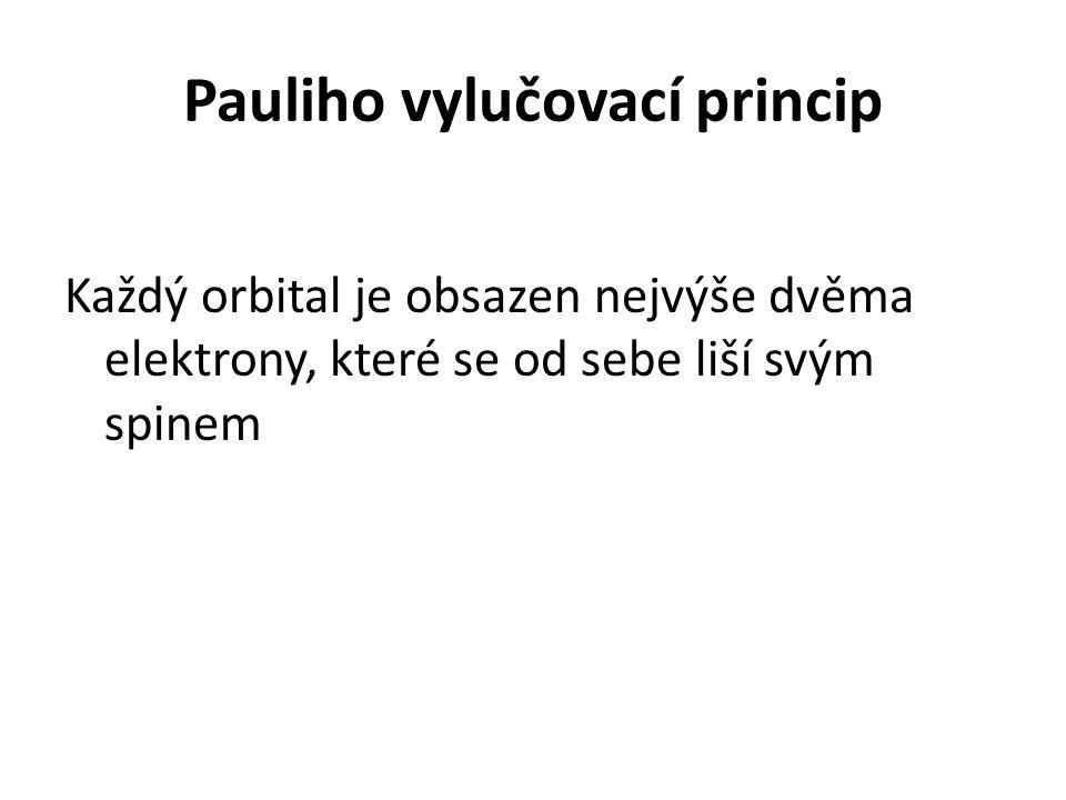 Pauliho vylučovací princip Každý orbital je obsazen nejvýše dvěma elektrony, které se od sebe liší svým spinem