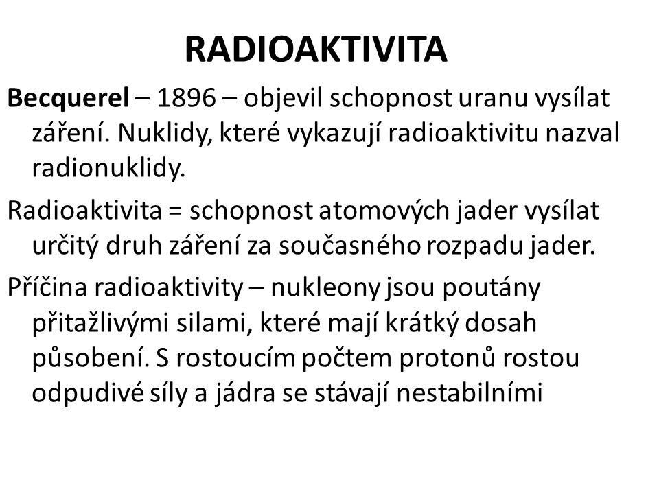 RADIOAKTIVITA Becquerel – 1896 – objevil schopnost uranu vysílat záření. Nuklidy, které vykazují radioaktivitu nazval radionuklidy. Radioaktivita = sc
