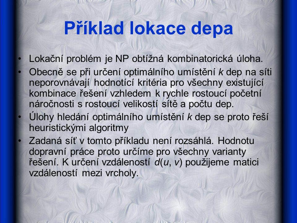 Příklad lokace depa •Lokační problém je NP obtížná kombinatorická úloha.