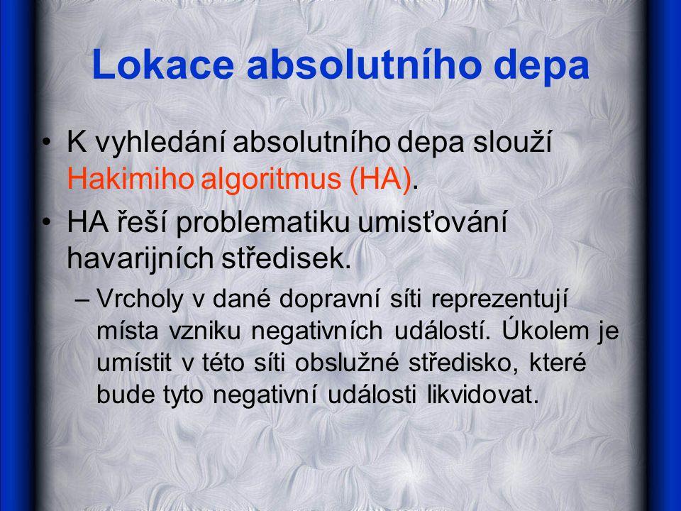 Lokace absolutního depa •K vyhledání absolutního depa slouží Hakimiho algoritmus (HA).