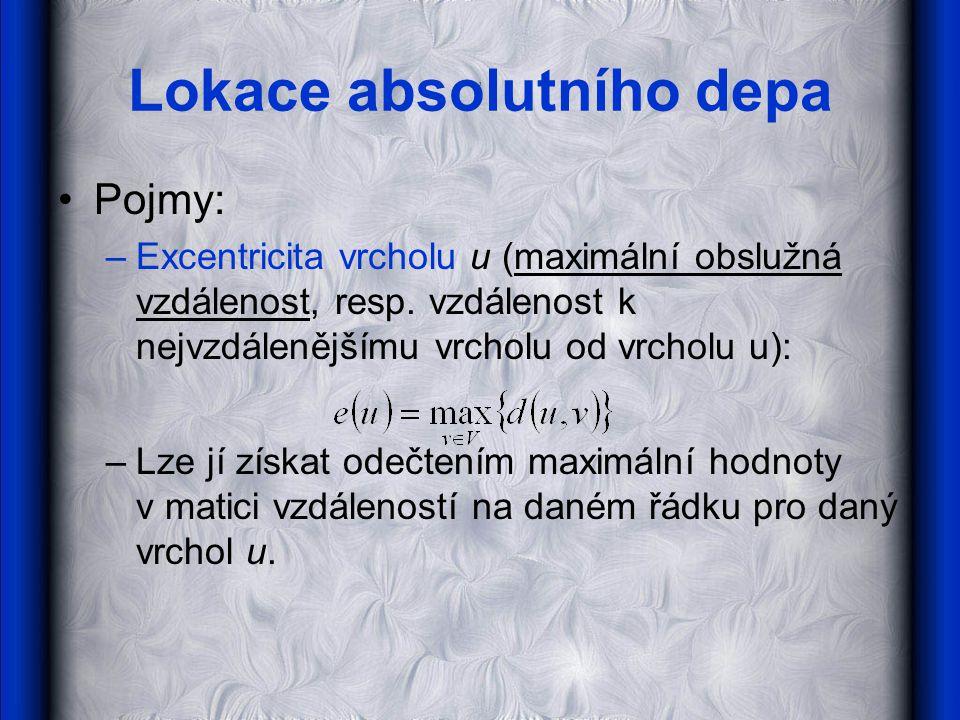 Lokace absolutního depa •Pojmy: –Excentricita vrcholu u (maximální obslužná vzdálenost, resp.