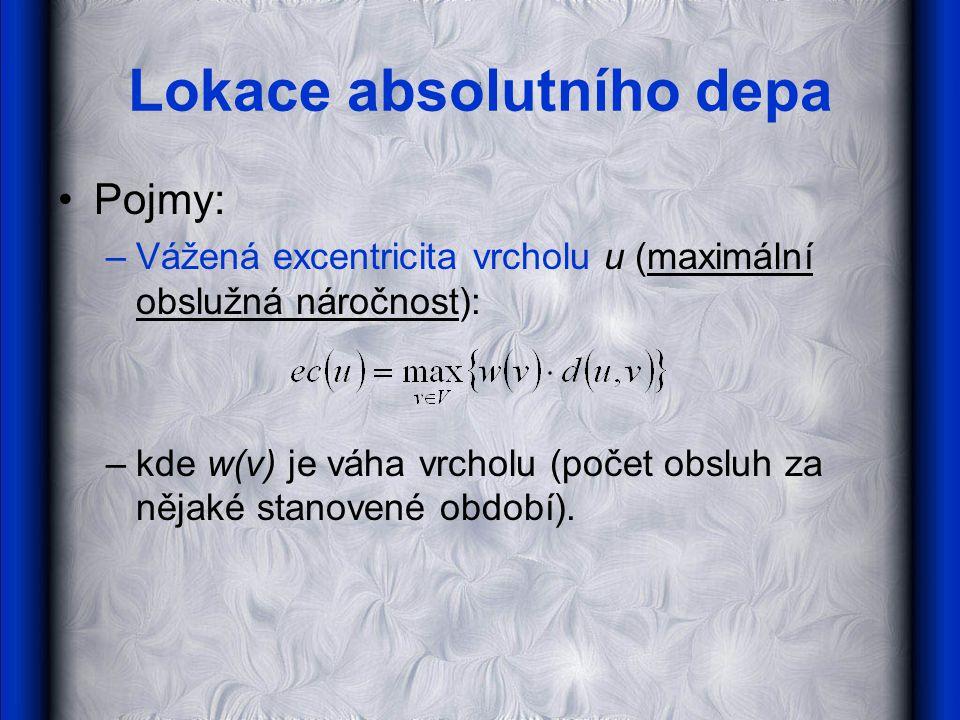 Lokace absolutního depa •Pojmy: –Vážená excentricita vrcholu u (maximální obslužná náročnost): –kde w(v) je váha vrcholu (počet obsluh za nějaké stanovené období).,