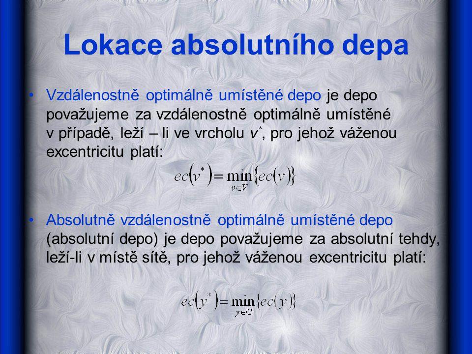 Lokace absolutního depa •Vzdálenostně optimálně umístěné depo je depo považujeme za vzdálenostně optimálně umístěné v případě, leží – li ve vrcholu v *, pro jehož váženou excentricitu platí: •Absolutně vzdálenostně optimálně umístěné depo (absolutní depo) je depo považujeme za absolutní tehdy, leží-li v místě sítě, pro jehož váženou excentricitu platí:..