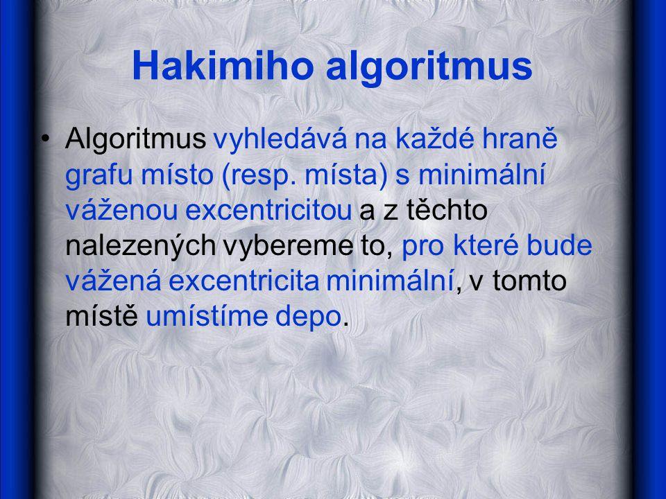 Hakimiho algoritmus •Algoritmus vyhledává na každé hraně grafu místo (resp.