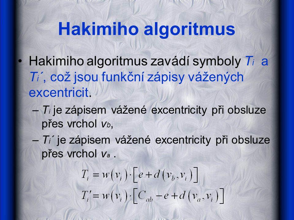 Hakimiho algoritmus •Hakimiho algoritmus zavádí symboly T i a T i ´, což jsou funkční zápisy vážených excentricit.