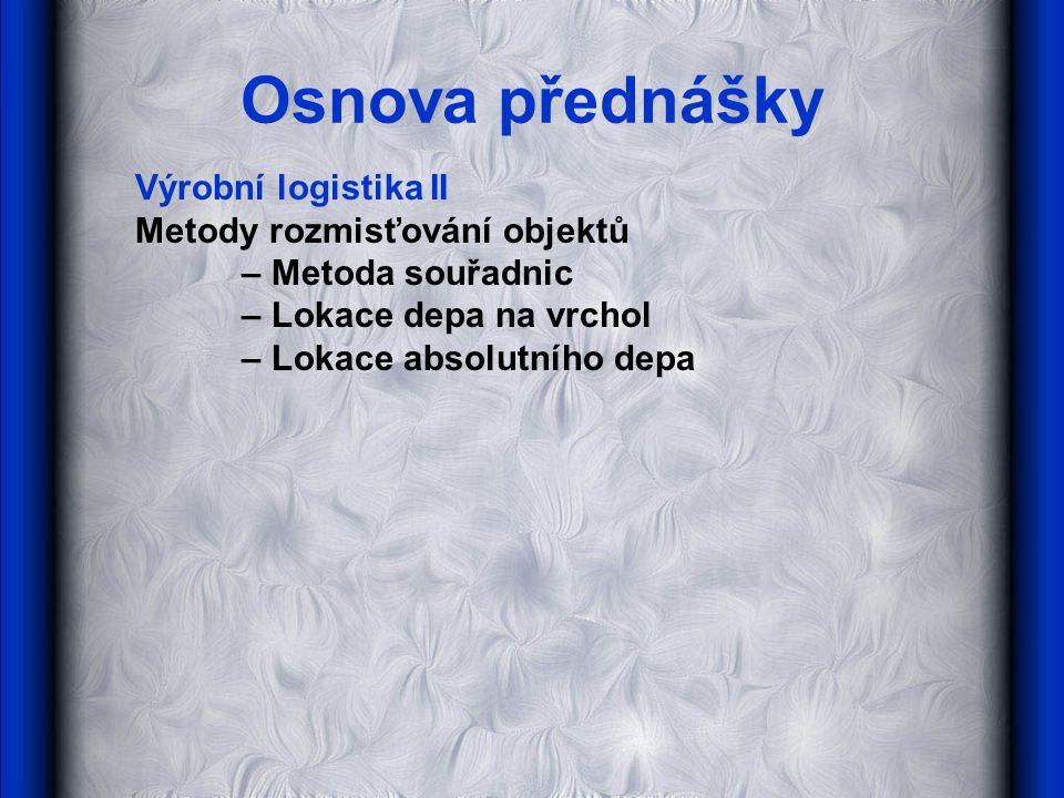Osnova přednášky Výrobní logistika II Metody rozmisťování objektů – Metoda souřadnic – Lokace depa na vrchol – Lokace absolutního depa