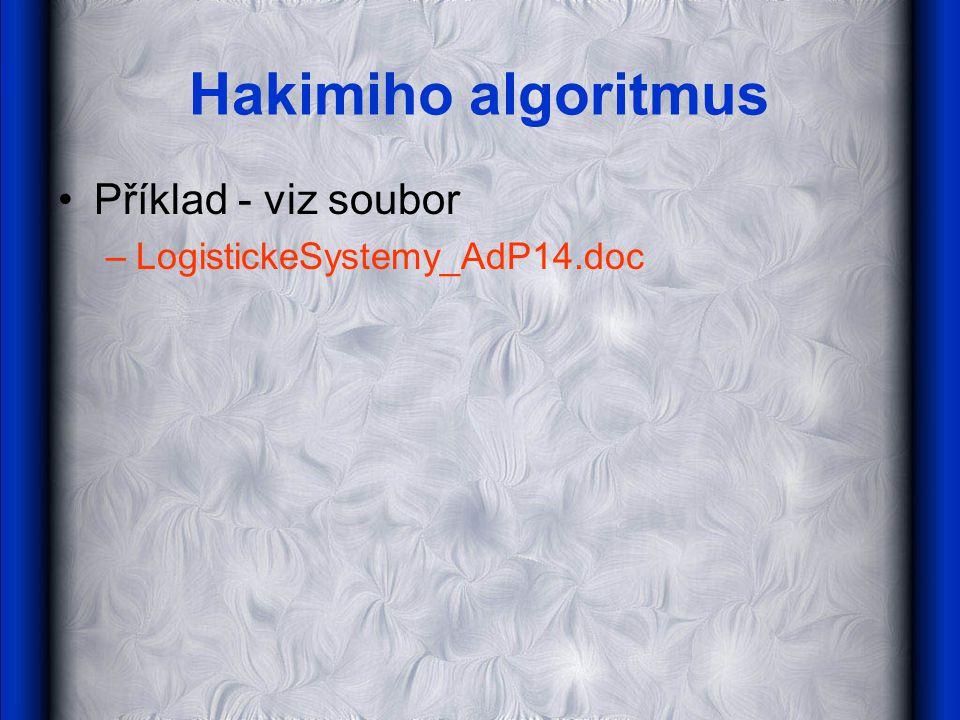 Hakimiho algoritmus •Příklad - viz soubor –LogistickeSystemy_AdP14.doc