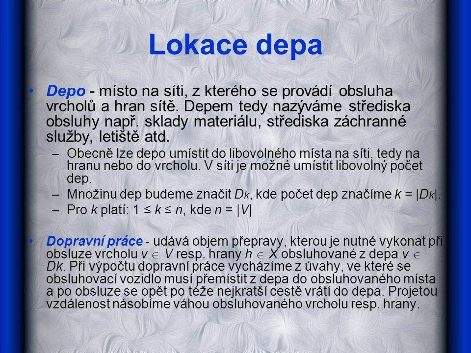 Lokace depa •Depo - místo na síti, z kterého se provádí obsluha vrcholů a hran sítě.