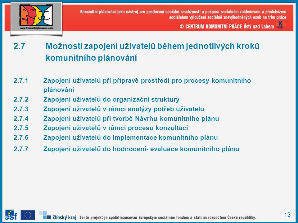 13 2.7 Možnosti zapojení uživatelů během jednotlivých kroků komunitního plánování 2.7.1Zapojení uživatelů při přípravě prostředí pro procesy komunitní