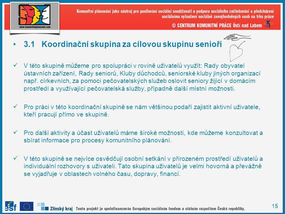 15 •3.1Koordinační skupina za cílovou skupinu senioři  V této skupině můžeme pro spolupráci v rovině uživatelů využít: Rady obyvatel ústavních zaříze