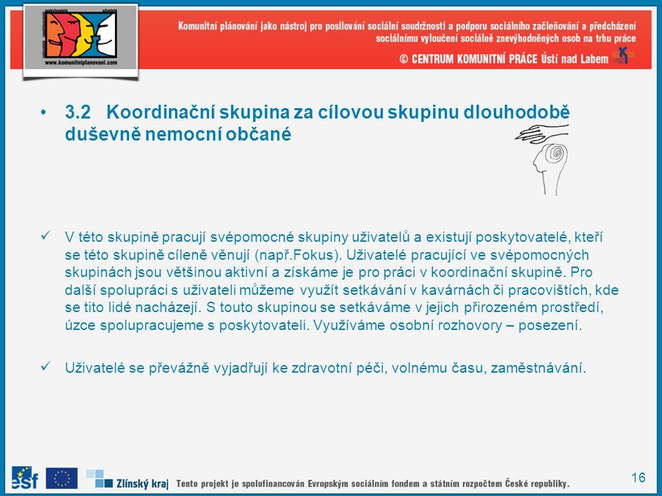 16 •3.2Koordinační skupina za cílovou skupinu dlouhodobě duševně nemocní občané  V této skupině pracují svépomocné skupiny uživatelů a existují posky