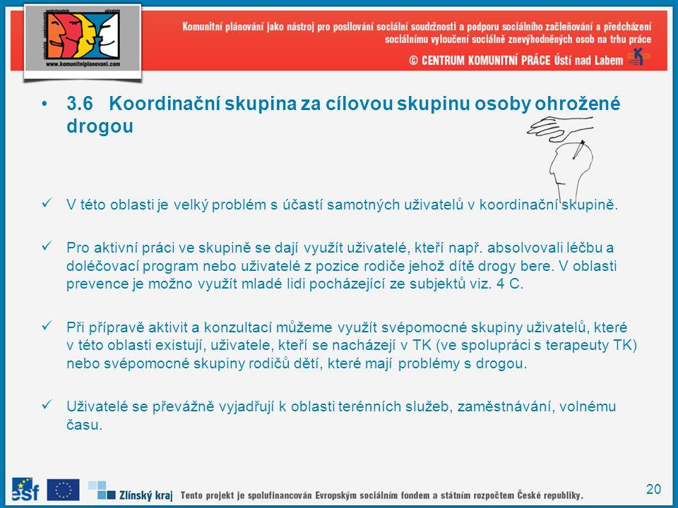 20 •3.6Koordinační skupina za cílovou skupinu osoby ohrožené drogou  V této oblasti je velký problém s účastí samotných uživatelů v koordinační skupi