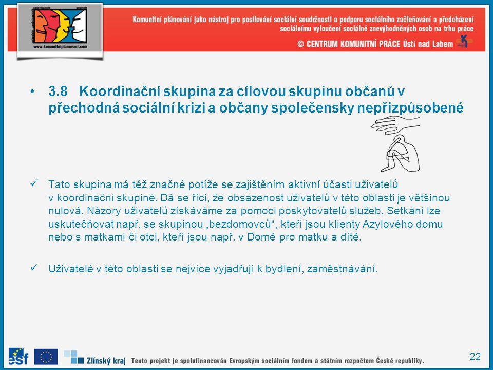 22 •3.8Koordinační skupina za cílovou skupinu občanů v přechodná sociální krizi a občany společensky nepřizpůsobené  Tato skupina má též značné potíž
