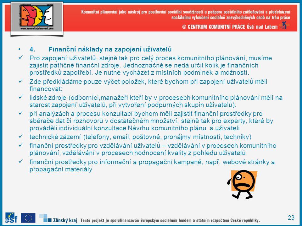 23 •4.Finanční náklady na zapojení uživatelů  Pro zapojení uživatelů, stejně tak pro celý proces komunitního plánování, musíme zajistit patřičné fina