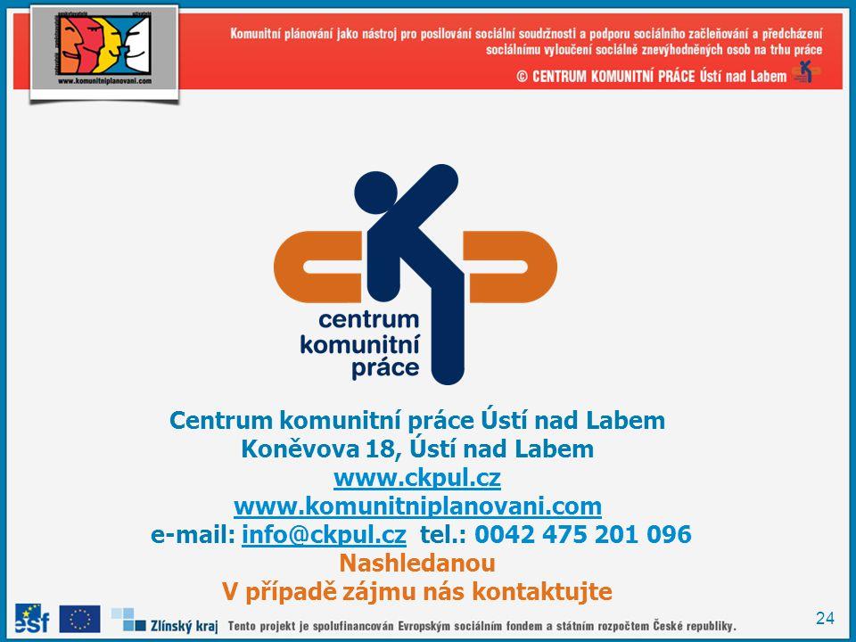 24 Centrum komunitní práce Ústí nad Labem Koněvova 18, Ústí nad Labem www.ckpul.cz www.komunitniplanovani.com e-mail: info@ckpul.cz tel.: 0042 475 201