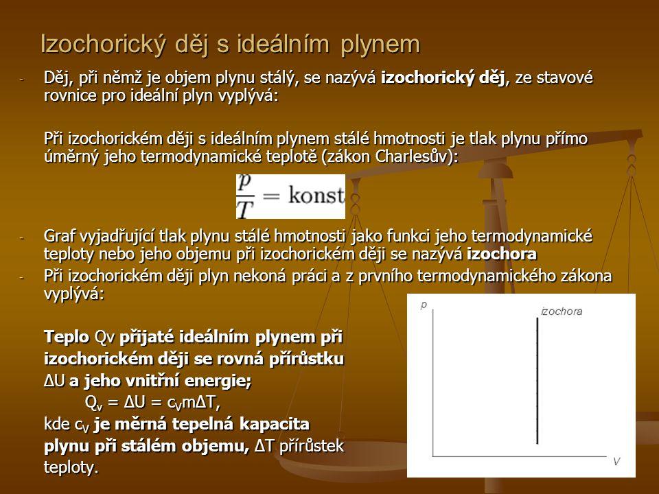 Izochorický děj s ideálním plynem - Děj, při němž je objem plynu stálý, se nazývá izochorický děj, ze stavové rovnice pro ideální plyn vyplývá: Při iz