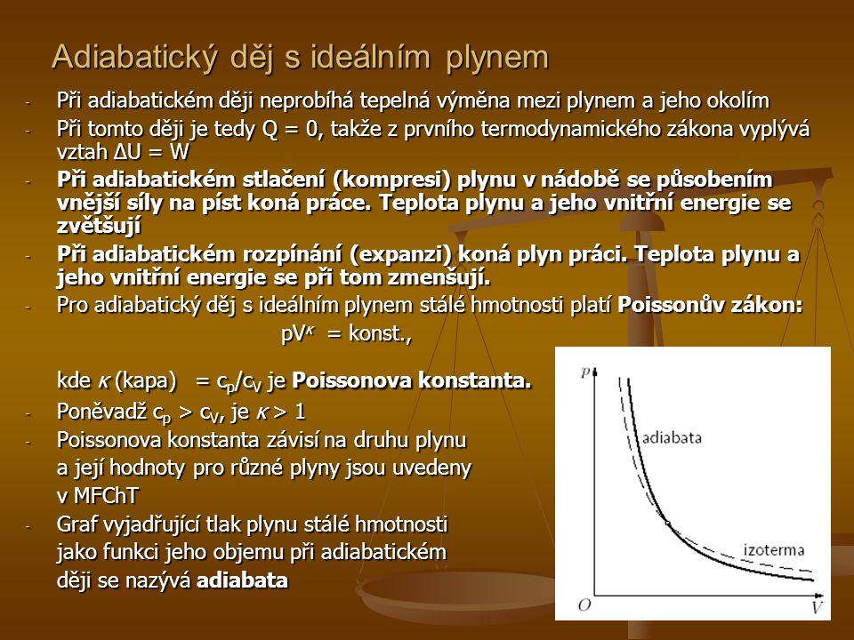 Adiabatický děj s ideálním plynem - Při adiabatickém ději neprobíhá tepelná výměna mezi plynem a jeho okolím - Při tomto ději je tedy Q = 0, takže z p