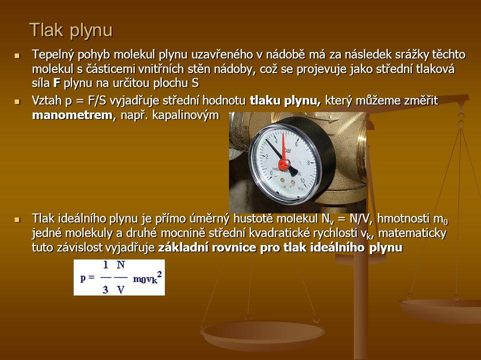 Stavová rovnice pro ideální plyn  Plyn, který je v rovnovážném stavu, lze charakterizovat stavovými veličinami termodynamickou teplotou T, tlakem p, objemem V a počtem molekul N  Existují další stavové veličiny, souhrnně se jedná o takové veličiny, které nám charakterizují stav soustavy (teplota, objem, tlak, magnetizace,…) k určení stavu je zapotřebí znát určitý minimální počet stavových veličin, ostatní stavové veličiny jsou na nich závislé  Rovnice, která vyjadřuje vztah mezi těmito veličinami se nazývá stavová rovnice Popis stavu plynu veličinami Tvar stavové rovnice p, V, T, N pV = NkT p, V, T, n pV = nRT p, V m, T PV m = RT p, V, T, m, M m pV = m/M m RT p, V, T (m = konst.) resp.