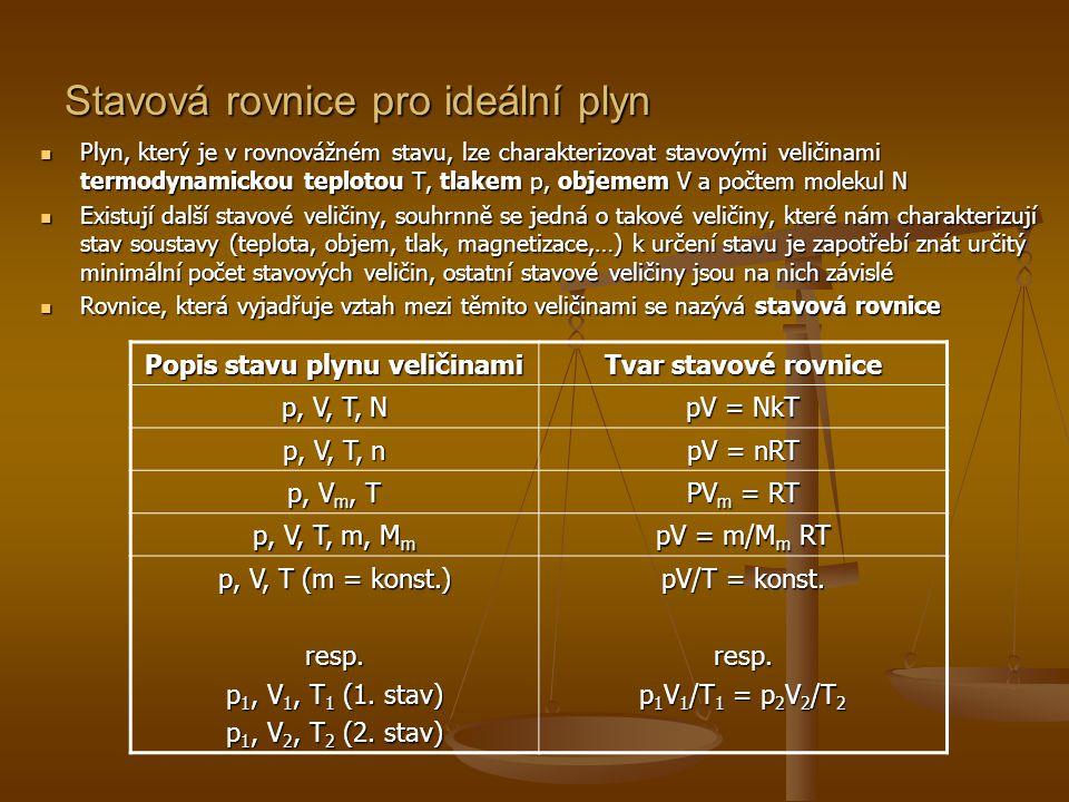 Avogadrův zákon  Mají-li dva plyny stejný objem, tlak a teplotu, pak pro ně platí rovnice pV = N 1 kT, pV = N 2 kT, ze kterých dostáváme N 1 = N 2  Tuto skutečnost vyjadřuje Avogadrův zákon: Různé ideální plyny o stejném objemu, teplotě a tlaku mají stejný počet molekul.